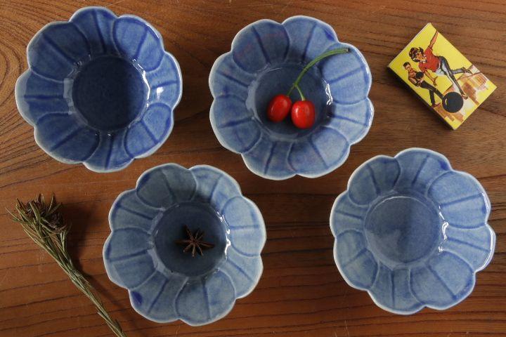 画像1: 柳川謙治「薄瑠璃花豆皿」