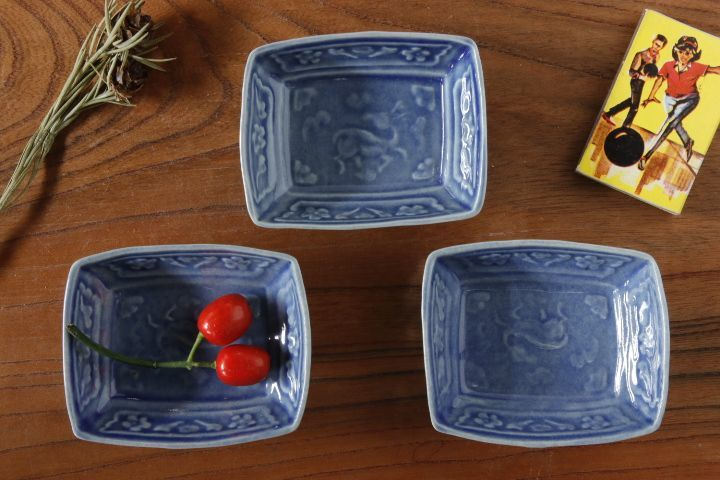 画像1: 柳川謙治「薄瑠璃鹿文豆皿」