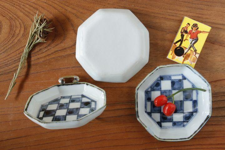 画像2: 柳川謙治「染付市松八角小皿」