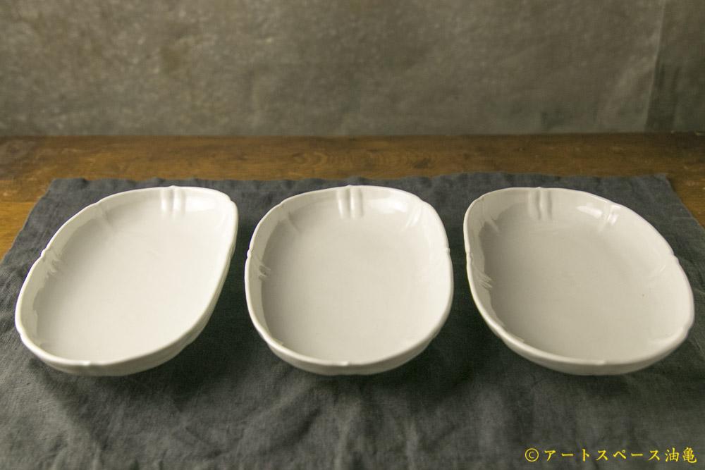 画像1: 柳川謙治「白磁輪花楕円皿」
