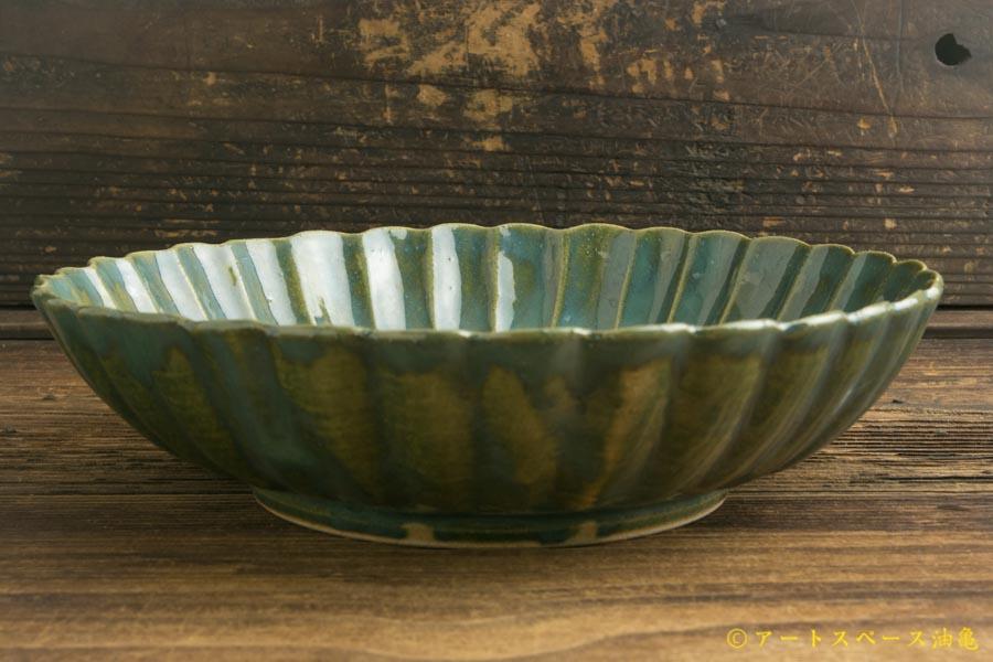 画像3: 柳川謙治「緑釉 菊華輪花七寸鉢」