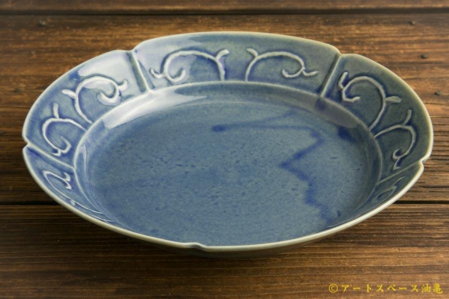 画像2: 柳川謙治「薄瑠璃 陽刻七寸平鉢」