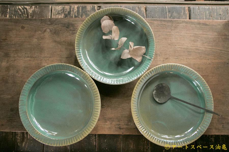 画像1: 柳川謙治 緑釉 鎬カレー七寸皿