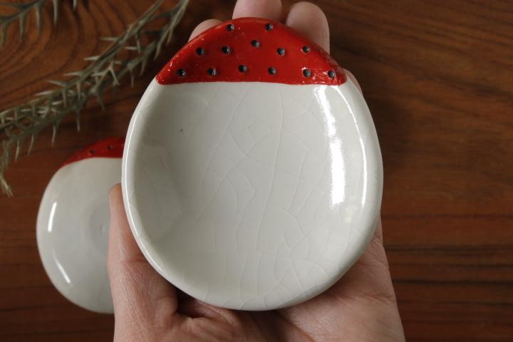 画像1: 柳忠義「赤 豆皿」【アソート商品】