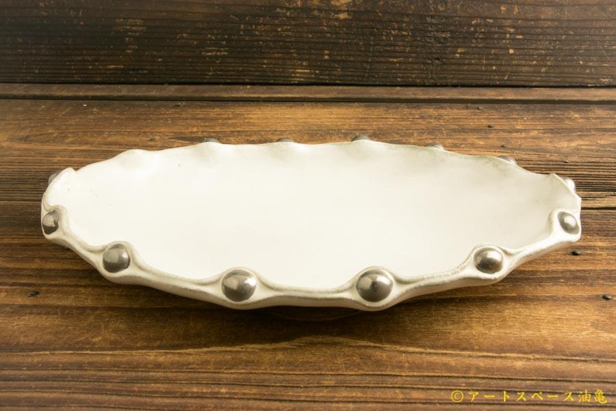 画像2: 柳忠義「チタン 銀玉だ円皿」