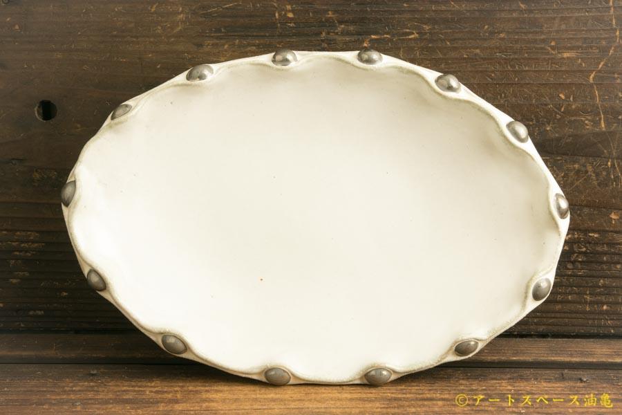画像1: 柳忠義「チタン 銀玉だ円皿」