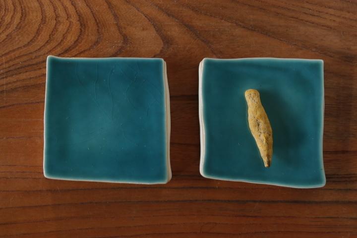 画像1: 柳忠義「半磁 板皿」
