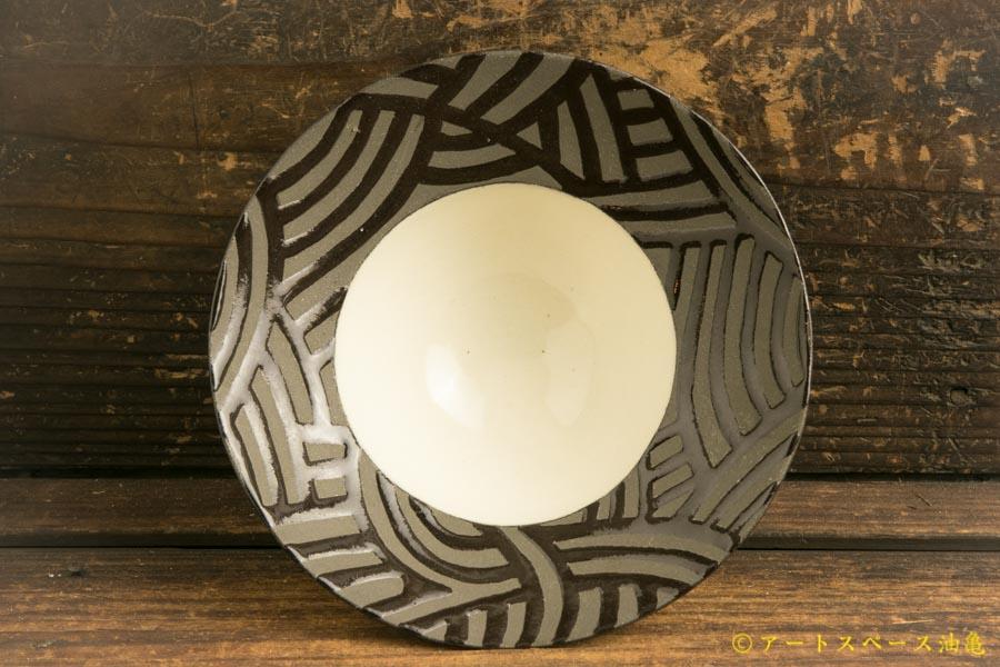 画像1: 柳忠義「黒 ストライプデザート鉢」