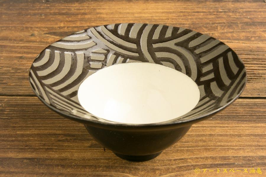 画像2: 柳忠義「黒 ストライプデザート鉢」