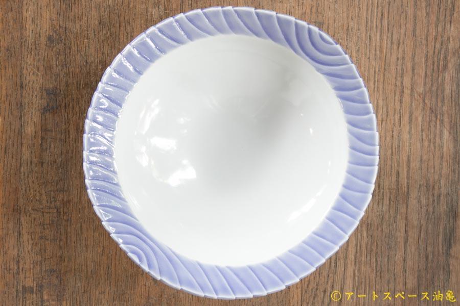 画像3: 柳忠義 半磁ほりこみ青 カレー皿
