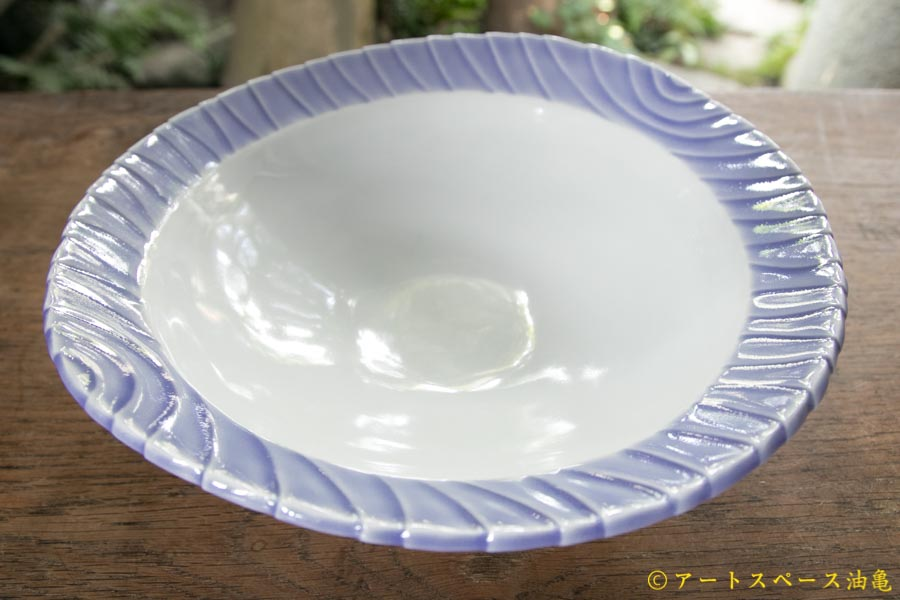 画像1: 柳忠義 半磁ほりこみ青 カレー皿