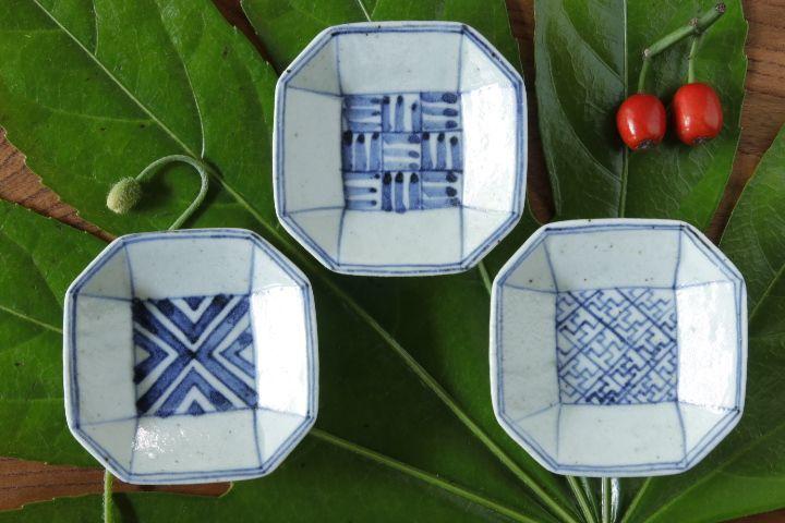画像1: 吉田崇昭「染付 八角形絵替わり豆皿」