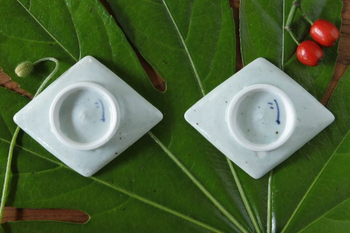 画像2: 吉田崇昭「染付 菱形絵替わり豆皿」
