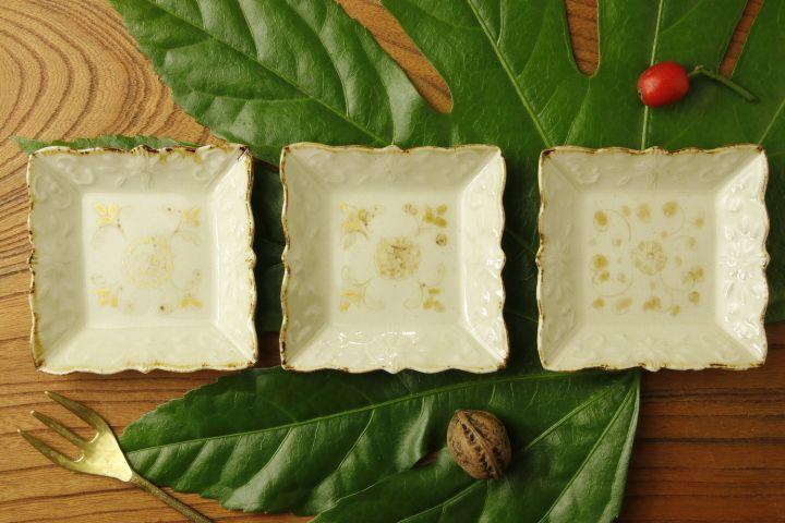 画像1: ヨシノヒトシ「黄白瓷角豆皿」