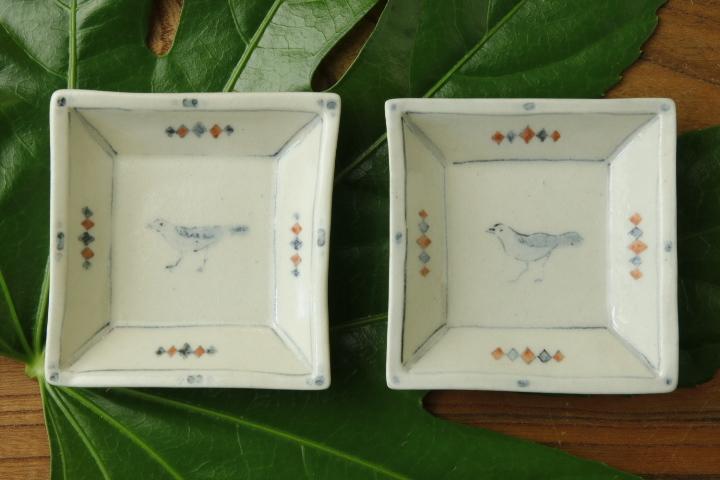 画像1: よしのちはる「鳥 四角小皿」