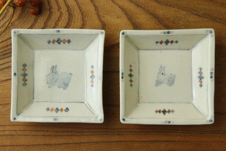 画像1: よしのちはる「兎 四角小皿」