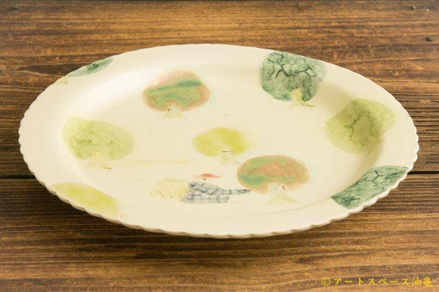 画像2: よしのちはる「茶摘み六寸壁掛け皿」
