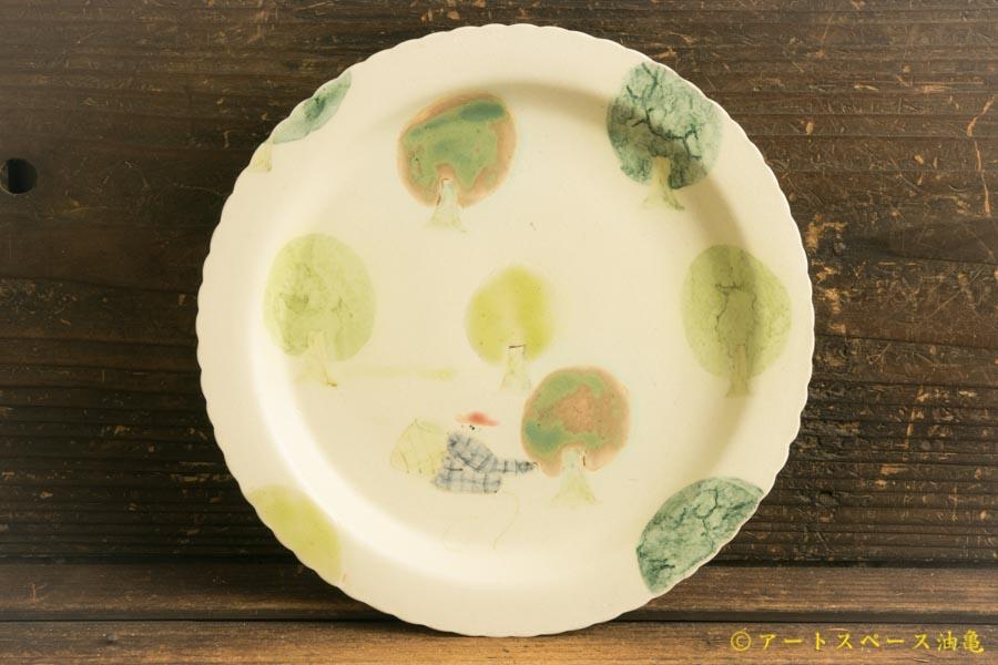 画像1: よしのちはる「茶摘み六寸壁掛け皿」
